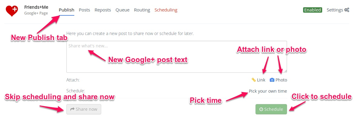 How to publish a post to Google+ Page